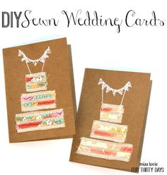 DIY Sewn Wedding Cards. Cute wedding cake cards you can make for the next wedding gift you give!
