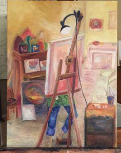 Self-portrait as Artist oil on canvas Lisa Lancaster 2014