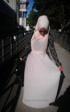 The Pure Life. pink lace love the hijab covering the chest