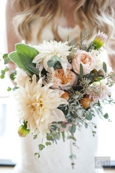 Bridal Bouquet - Dahlia, Garden Rose.  Add: White Wax flower sparingly.