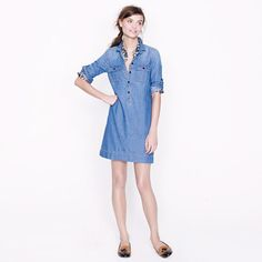 J.CREW Workwear shirtdress 78958 $118.00 A wardrobe workhorse that feels instantly put together the moment you pop it on (just roll up the button-tab sleeves and go). Styled in addictively soft chambray that's been prewashed for a sun-faded finish and a fluid drape, it's the perfect warm-weather piece. (Bonus: It looks great layered over leggings when temps begin to cool.)