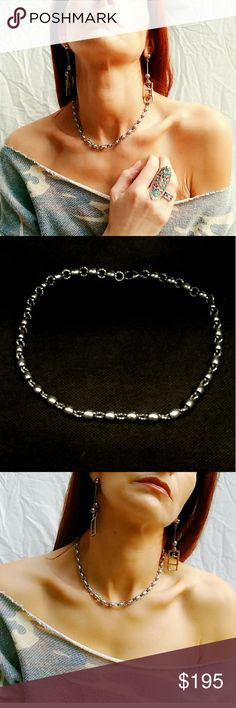 """Vintage Sterling Silver Ball & Chain Necklace Unusual Vintage Sterling Silver Ball & Chain Necklace. In excellent condition. Measures approximately 16.25"""" long, and weighs about 40 grams. Vintage Jewelry Necklaces"""