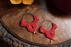 Red Macramé & Gold Beaded Earrings by TravelingSeven on Etsy