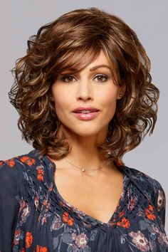 Find the Felicia Wig by Henry Margu Wigs. Felicia is a beautiful shoulder length style with soft loose end curls. Curly Hair With Bangs, Curly Hair Cuts, Curly Bob Hairstyles, Short Curly Hair, Hairstyles With Bangs, Wavy Hair, Curly Hair Styles, Pretty Hairstyles, Hairstyles For Medium Length Hair With Layers