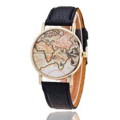 MAP LEATHER WATCH BLACK