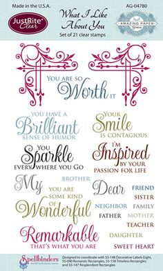 JustRite - Clear Acrylic Stamps - What I Like About You at Scrapbook.com