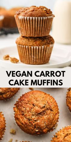 Vegan Carrot Muffins (Healthy Oil Free) Healthy carrot cake muffins made with almond flour, spelt flour and maple syrup! Fluffy, moist and packed with wholesome ingredients-- perfect for a filling grab and go breakfast or quick snack. Healthy Carrot Muffins, Vegan Carrot Cakes, Healthy Vegan Snacks, Healthy Sweets, Vegan Foods, Vegan Muffins Gluten Free, Healthy Muffin Recipes, Healthy Cake, Vegan Meals