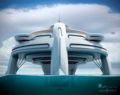 Utopia Yacht, future, BMT Nigel Gee, luxury, Yacht Island Design, fantastic, futuristic, watercraft