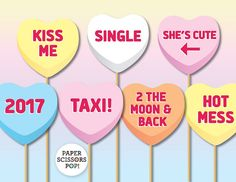 Wedding Photo Props, Heart Candy Props, Valentines Decor, Pastel Wedding Decor, Love Quotes Photo Props, Funny Props