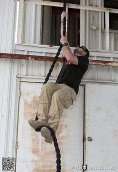 How to climb a rope like a Navy SEAL. Gotta do this. Leave it to the SEALs to figure out how to do this faster. Click the link at the bottom to watch the video.