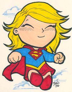 Chibi-Supergirl. by hedbonstudios.deviantart.com on @deviantART