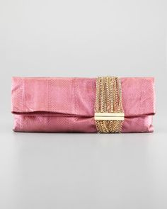 Chandra Chain Snakeskin Clutch Bag, Pink/Purple by Jimmy Choo at Neiman Marcus.