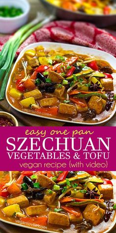 Szechuan Vegetables and Tofu – an easy vegan one pan Chinese dish recipe for stir-fried vegetables with tofu in a fragrant spiced chilli sauce. This recipe is actually not overly hot and is in fact well balanced with every thinkable flavour and texture mingled in one dish. Watch the video - https://youtu.be/SmXAslzLLQc #szechuanrecipe #veganszechuan #Chineserecipes #veganChineserecipes #veganlovlie #veganrecipes #spicyveganrecipes