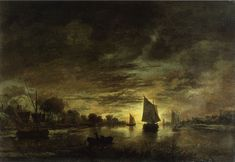 Aert van der Neer - River landscape by moonlight