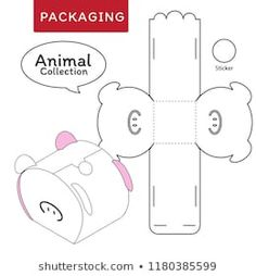Animal collection vector Illustration of Box. Isolated White Retail Mock up. Paper Crafts Origami, Diy Origami, Diy Gift Box, Diy Box, Farm Animal Party, Deployment Gifts, Pig Crafts, Gift Wraping, Pig Birthday