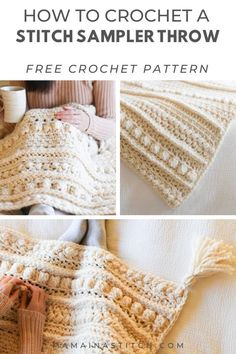 Chunky Sampler Blanket Crochet Pattern – Wintertide Throw This is such an eye catching blanket. I love that there are a variety of stitches that are simple yet stunning! The free pattern will tell you how to work each row to create the stitches. Crochet Afghans, Crochet Stitches Patterns, Stitch Patterns, Knitting Patterns, Blanket Crochet, Crochet Throws, Knitted Blankets, Chunky Crochet Blanket Pattern Free, Crochet Ripple