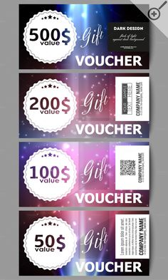 Modern gift voucher templates by VetcorShop on @creativemarket