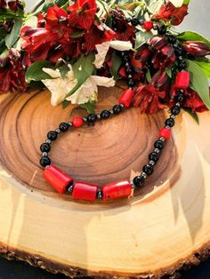 Obsidian, Coral and Hematite Necklace Hematite Necklace, Protection Stones, Red Coral, Handmade Sterling Silver, Handmade Necklaces, Natural Gemstones, Earthy, Gemstone Jewelry, How Are You Feeling