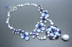 650.00 Vintage Christian Dior 50s faux pearl Blue Rhinestone cabochon Necklace