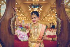 Niharika is all smiles after her makeover for her muhurtam. Makeup and hairstyle by Vejetha for Swank Studio. Pink lips. Nose ring. Maang tikka. South Indian bride. Eye makeup. Bridal jewelry. Bridal hair. Silk sari. Bridal Saree Blouse Design. Indian Bridal Makeup. Indian Bride. Gold Jewellery. Statement Blouse. Tamil bride. Telugu bride. Kannada bride. Hindu bride. Malayalee bride. Find us at https://www.facebook.com/SwankStudioBangalore