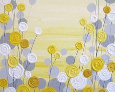 Azul y gris con textura árbol de arte pintura por MurrayDesignShop