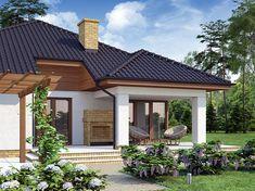 Projekt domu Kroton 116,1 m2 - koszt budowy 238 tys. zł - EXTRADOM Gazebo, Pergola, Cottage Style Homes, Small House Design, Beautiful Gardens, House Plans, Places To Visit, Exterior, Outdoor Structures
