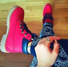 RED TIMBERLANDS OMG GOTTA FIND RED PANTS AND RED SHIRT WITH RED SWEATER AND RED HAT