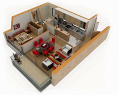 25 One Bedroom House/Apartment Plans Furniture takes up quite a bit of room in this one bedroom, but it doesn't lack for seating. Small Apartment Plans, Apartment Layout, Small Apartments, 3d House Plans, Small House Plans, House Blueprints, Bedroom Layouts, House Layouts, Bedroom Designs