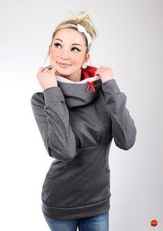 Kuscheliger Hoodie mit großen Kragen und Schleife / cute grey hoodie with little red bow by meko store via DaWanda.com