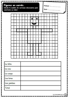 Périmètre d'un robot                                                                                                                                                                                 Plus Teaching Tools, Teaching Resources, Maths 3e, Robot, Area And Perimeter, Montessori Math, Multiplication And Division, French Language Learning, Fractions