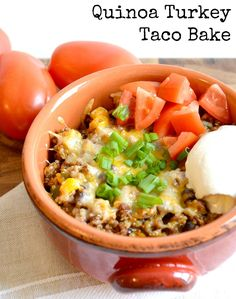 {Healthy} Quinoa Turkey Taco Bake | This simple weeknight Mexican casserole that comes together in a snap is full of quinoa, ground turkey, black beans, and veggies! | chocolateandseasalt.com