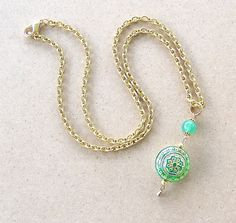 Green Eye Candy Vintage Style Necklace.