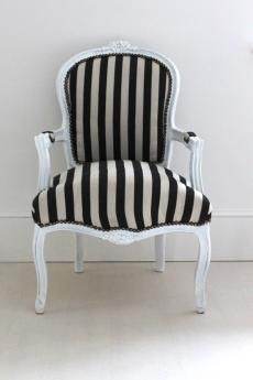 Black And White Striped Armchair
