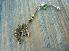 dragon belly ring fantasy belly ring cosplay green