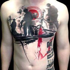 Trash Polka Chest Tattoo Idea