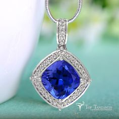 Tanzanite Pendants at Top Tanzanite. Shop the largest online selection of expertly crafted jewelry, pendants and certified loose diamonds. Tanzanite Necklace, Tanzanite Pendant, Diamond Pendant, Fine Jewelry, Jewellery, Engagement Jewelry, Gems And Minerals, Violets, Beading