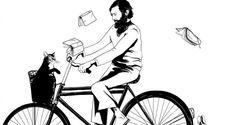 (Julio Cortázar sobre ruedas dibujado por Virginia Herrera)  Vietato introdurre biciclette:  (..) No ocurra que las bicicletas amanezcan un día cubiertas de espinas, que las astas de sus manubrios crezcan y embistan, que acorazadas de furor arremetan en legión contra los cristales de las compañías de seguros y que el día luctuoso se cierre con baja general de acciones, con luto en veinticuatro horas, con duelos despedidos por tarjeta. #cortazar #bicicletas