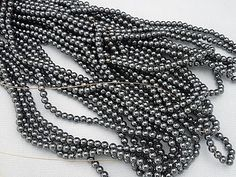5 strands of 4mm round genuine hematite beads by celtictreasures