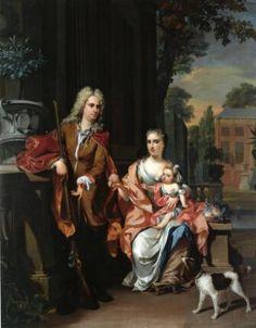 Familieportret met Johan Diederik Pompe van Meerdervoort en zijn echtgenote Johanna Alida en hun oudste dochter Maria Christina