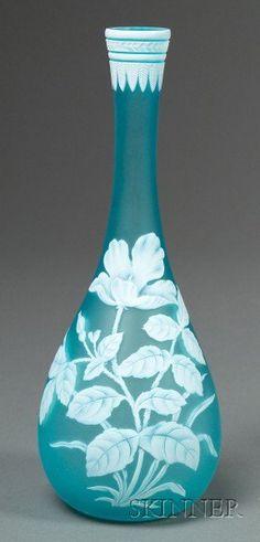 Webb Cameo Glass Vase, Art Nouveau glass, Flared