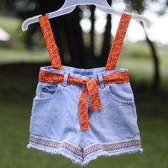 Clothespin Bag Orange & Denim by vineyardcraftshop on Etsy, $9.99