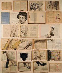Drawing on books Errata Corrige, 2012; libri antichi e non, inchiostro, chiodi, legno, cm 130x110    © Ekaterina Panikanova
