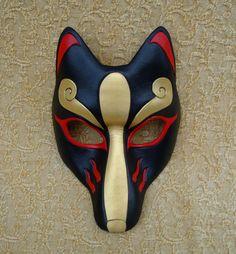 Black Kitsune Mask...handmade leather Japanese fox mask. $95.00, via Etsy.