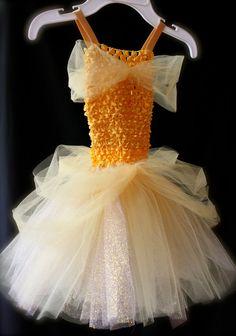Belle Inspired Princess Tutu Dress -- Yellow