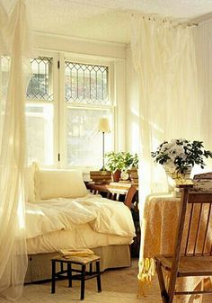 Sheer Curtains and Natural Lighting for a Bedroom - Simple and Elegant--maybe I don't need a headboard, if I go with the sheer curtain/canopy idea. cause THAT's the focus of the bed