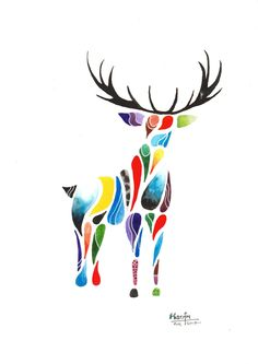"""Cervus"" is an original painting depicting a deer/stag in an abstract composition where a variety of shapes are combined to create a whole. https://www.etsy.com/uk/listing/538150810/original-a4-animal-painting-abstract"