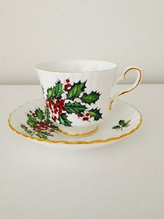Royal Stafford Bone China Teacup and Saucer by vintagebygramma