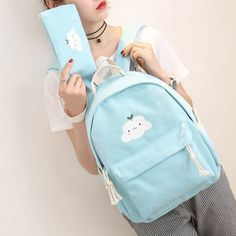 This+fresh+and+cute+Korean+style+backpack+comes+with+a+free+pencil+bag. Measures:+ backpack+32+x+39+x+14.5+cm pencil+bag+20+x+12+x+3+cm