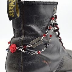 Boot Chain Bracelet - The Rose and The Razors - For Combat Boots, Army Boots, Dr. Martens, Doctor Martens by on Boot Jewelry, Dr Martens 1460, Little Rose, Just Run, Hot Topic, Combat Boots, Gothic, Army, Chain