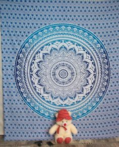 Ombre Indian Mandala Tapestry Hippie Tapestry Wall Hanging Bedspread  #Handmade #BedspreadTapestry Indian Mandala, Mandala Tapestry, Tapestry Wall Hanging, Bedspread, Beach Mat, Outdoor Blanket, Handmade, Tapestry, Quilt Cover